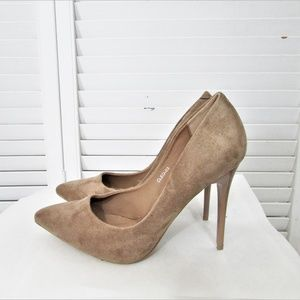 Only U CLEO tan faux suede pumps 6.5